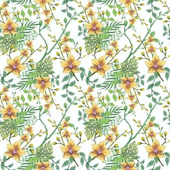 Naadloze tropische hawaiiaanse bloem blad patroon