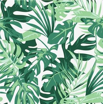 Naadloze tropische palm doorbladert patroon illustratie