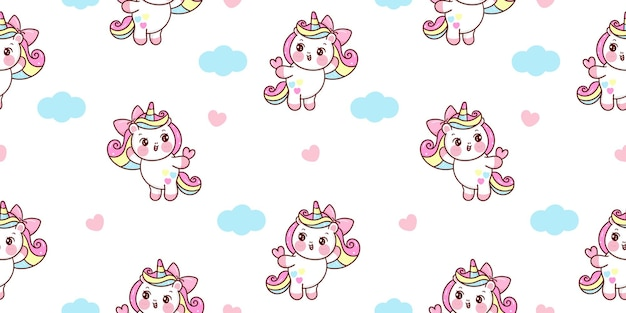 Naadloze unicorn pony cartoon met hart en wolk kawaiidieren