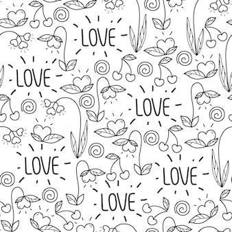 Naadloze valentijnsdag patroon in doodle stijl