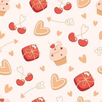 Naadloze valentijnsdag patroon met dozen chocolaatjes en gebak