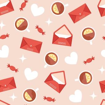 Naadloze valentijnsdag patroon met enveloppen en hete thee