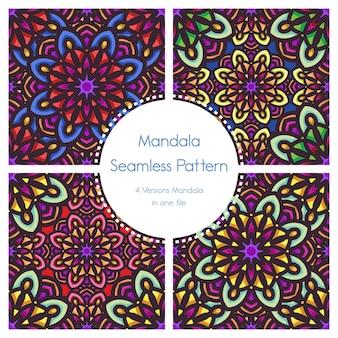 Naadloze van het patroonpak mandala sier als achtergrond