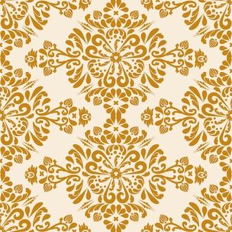 Naadloze vector achtergrond damast oriënteren ornament klassieke vintage patroon bruin en beige