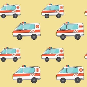 Naadloze vector achtergrond met ambulance auto