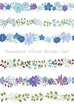 Naadloze vector aquarel bloemen grens ingesteld op een wit