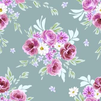 Naadloze vector bloemenprint met paarse roos. waterverfeffect