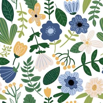 Naadloze vector bloemmotief botanische illustratie met planten