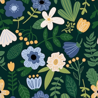 Naadloze vector bloemmotief op donkere achtergrond botanische illustratie met planten