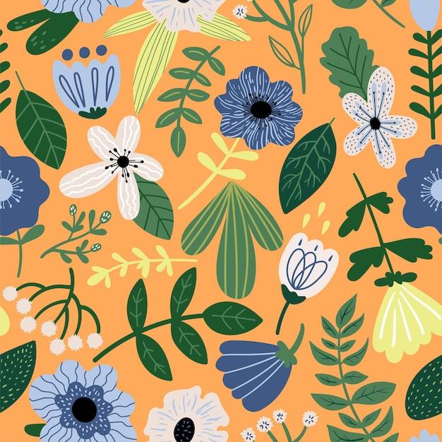 Naadloze vector bloemmotief op oranje achtergrond botanische illustratie met planten