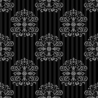 Naadloze vector koninklijke achtergrond. grijze stroken op donker