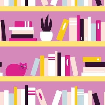 Naadloze vector patroon met boekenplanken, boeken, planten en katten op paarse achtergrond.