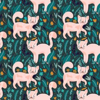 Naadloze vector patroon met handgetekende roze katten en wilde bloemen op groene achtergrond
