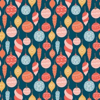Naadloze vector patroon met kerst speelgoed nieuwjaar decoratie achtergrond