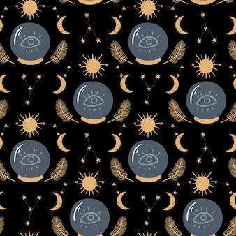 Naadloze vector patroon met kristallen bol zon maan wassende sterrenbeeld en veren