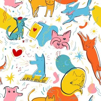 Naadloze vector patroon met schattige kleur katten en honden in verschillende poses en emoties