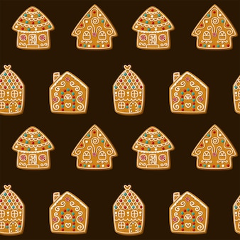 Naadloze vector patroon met schattige peperkoek huizen kerstkoekjes op een bruine backgroundvector