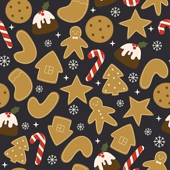 Naadloze vector patroon met zelfgemaakte kerstkoekjes snoepjes en cupcakes