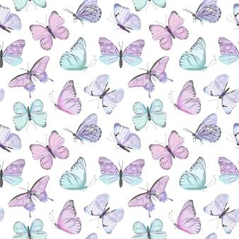 Naadloze vector vlinder aquarel patroon. vintage vliegende insecten zomer achtergrond. kleurrijke textuur, inpakpapier, rustiek behang, natuurachtergrondtextiel
