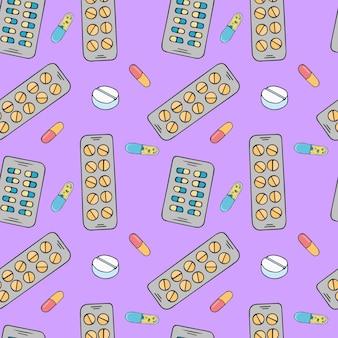 Naadloze vectorachtergrond met medicijnentabletten en capsules van geneeskunde