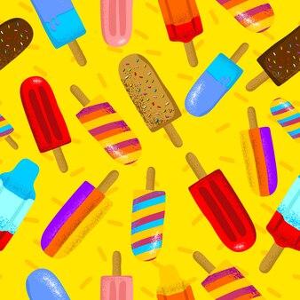 Naadloze vectorillustratie van kleurrijke ijslollys