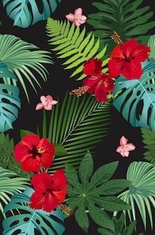 Naadloze vectorpatroon tropische bladeren met rode hibiscusbloem en roze orchidee