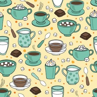 Naadloze vectorpatroonachtergrond met koffie, espresso, cappuccino, latte