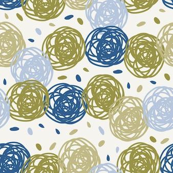 Naadloze veelkleurige patroon achtergrond met doodle hand tekenen polka dot als een bloem