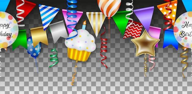 Naadloze verjaardag met kleurrijke ballonnen, slingers en wimpels