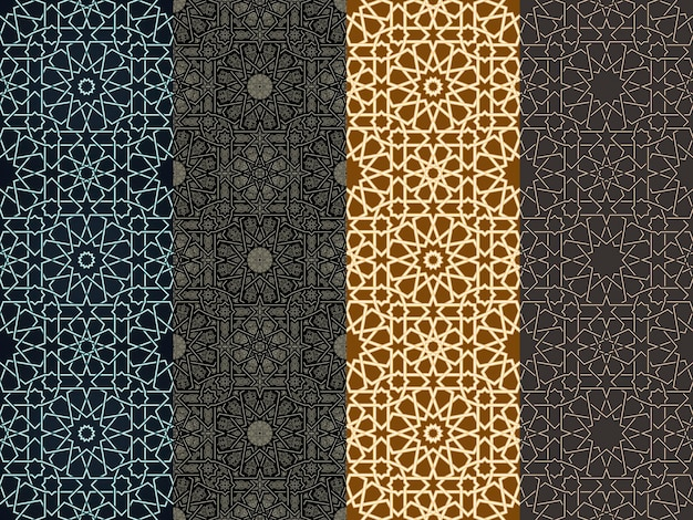 Naadloze verticale marokkaanse patroon arabische geometrische achtergrond