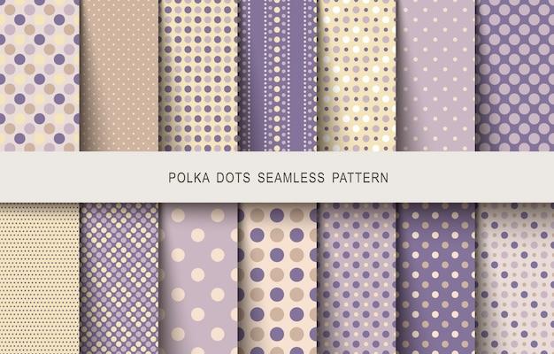 Naadloze vintage patronen polka dots set