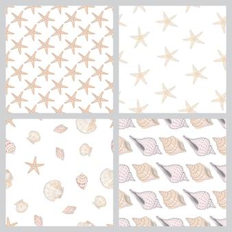 Naadloze vintage patroon met schelpen. zee achtergrond