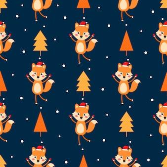 Naadloze vrolijke kerst patroon met vos geïsoleerd op blauwe achtergrond.