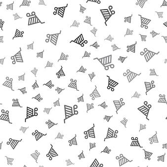 Naadloze winkelwagen patroon op een witte achtergrond. eenvoudig winkelwagen pictogram creatief ontwerp. kan worden gebruikt voor behang, webpagina-achtergrond, textiel, print ui/ux