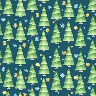 Naadloze winter patroon. kerst aquarel ontwerp. hand getrokken pijnbomen. stripfiguur.
