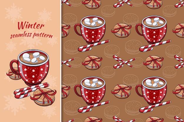 Naadloze winter patroon met warme chocolademelk en koekjes
