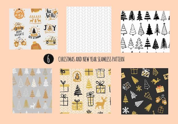Naadloze winterse naadloze patronen. kerstmis en nieuwjaar