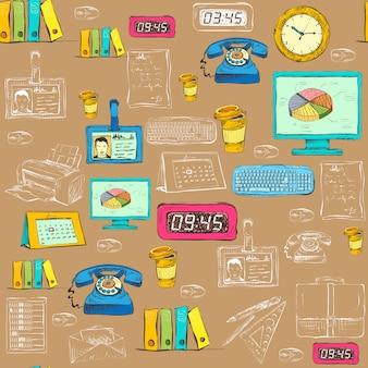 Naadloze zakelijke kantoorbenodigdheden patroon