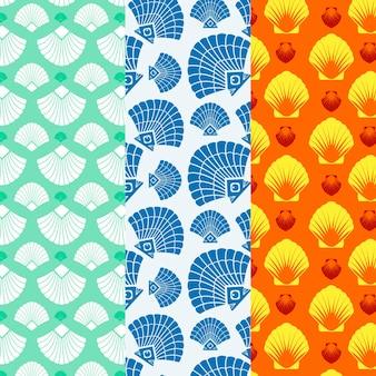 Naadloze zeeschelp patroon collectie