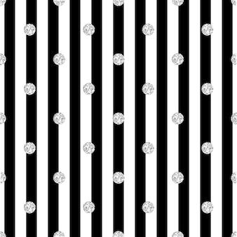 Naadloze zilver dot glitter patroon op streep achtergrond