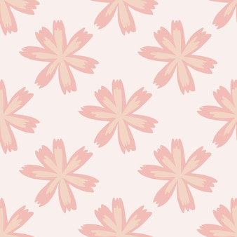 Naadloze zomer flora patroon met doodle roze bloemvormen.