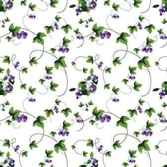 Naadloze zomerbloemen en bladerenpatroon abstracte wijnstok met blauwe druivenbladeren