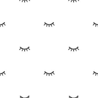 Naadloze zwart glitter wimper patroon op witte achtergrond