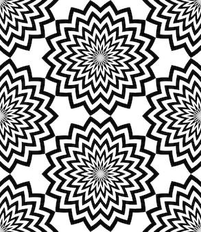 Naadloze zwart-wit gestreepte cirkelvormige zigzag lijnen sneeuwvlokken patroon of textuur.