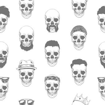 Naadloze zwart-wit grijs patroon met schedels in hoed, kroon, baard en snor