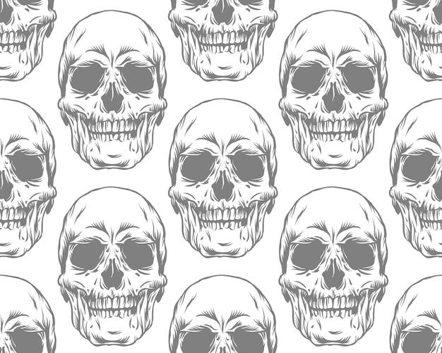 Naadloze zwart-wit grijs patroon met schedels op witte achtergrond
