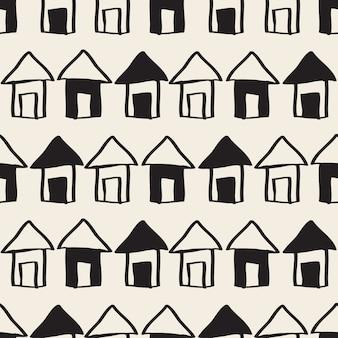 Naadloze zwart-wit hand getrokken dorp met huis, hemel en boom patroon achtergrond