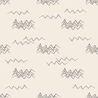 Naadloze zwart-wit handgetekende moutain patroon achtergrond