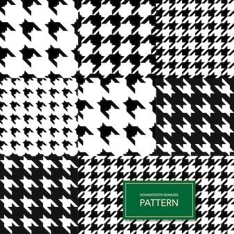 Naadloze zwart-wit houndstooth vector achtergrond. retro geometrische patroon voor kleding mode of vintage textiel textuur.