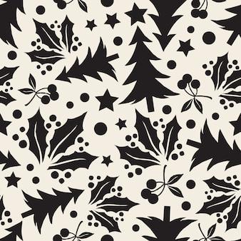 Naadloze zwart-wit kerstboom met punt en sterpatroon achtergrond